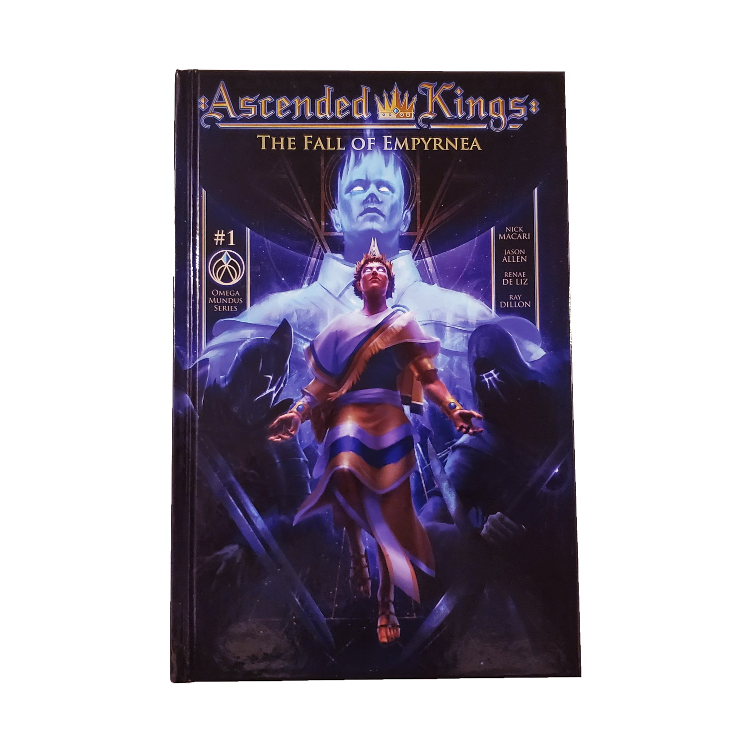 The cover art for Ascended Kings: The Fall of Empyrnea, featuring High King Apsu shadowed by his blue ethereal revenant.