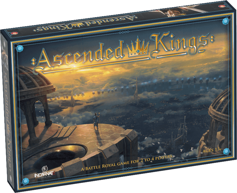 The fantasy art-themed box for Ascended Kings. Golden letters. A mysterious king or god on a floating temple looks down a t the realm below. At sunset.