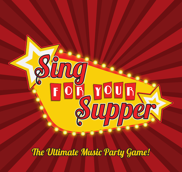 The red and yellow box art for the Sing For Your Supper Music Game